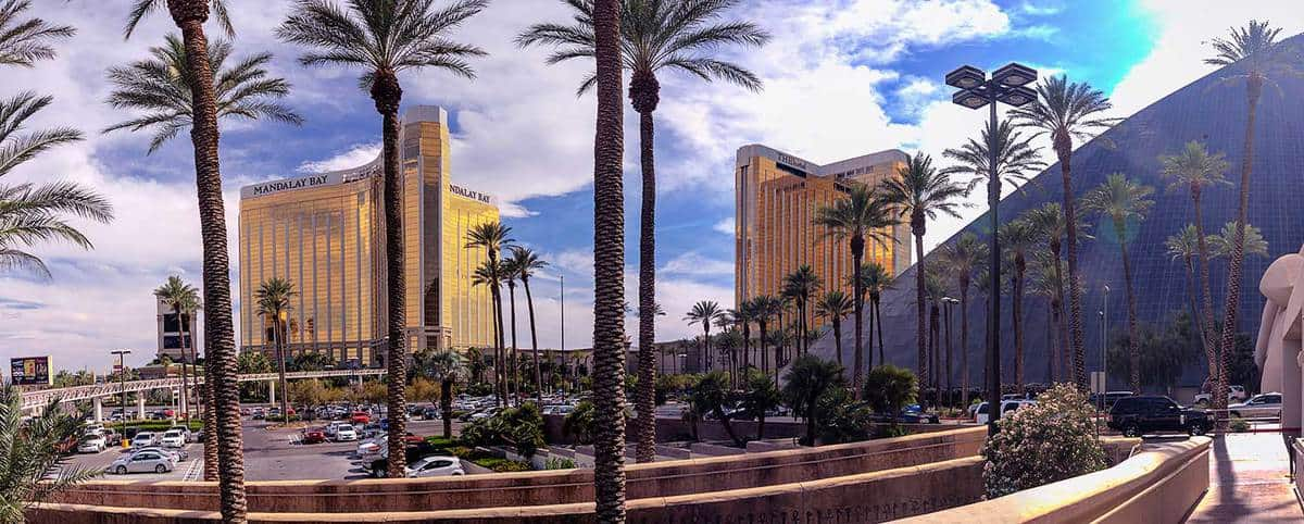 Mandalay Bay and THEhotel resort and casino hotels in panoramic view