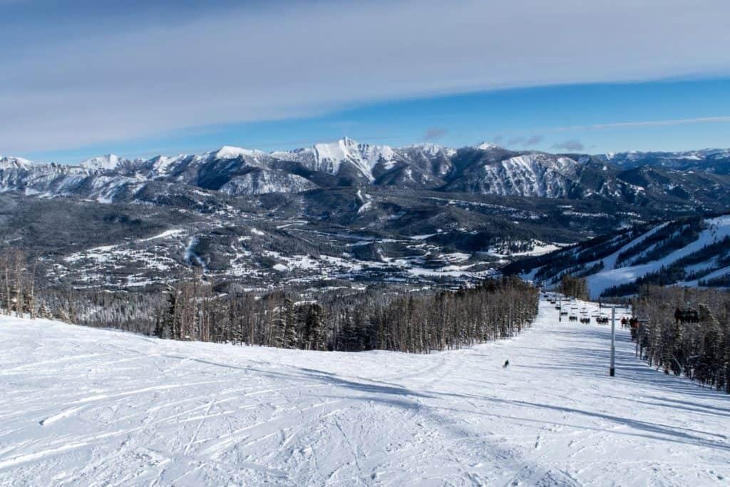 Ski Trail mountain of Big Sky, Montana
