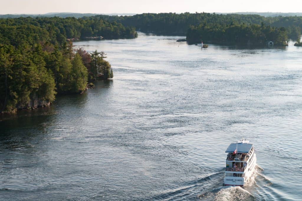 A bout tour at Gananoque boat lines Thousan Island photographed on an aerial view