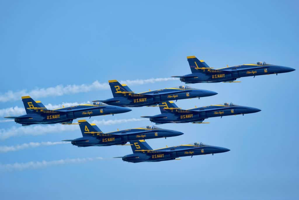 The United States Navy Blue angels soaring over the skies of Florida