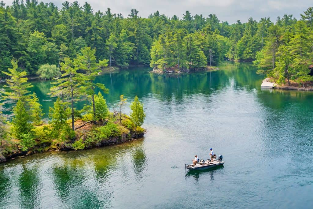 Two men fishing at Thousand Islands