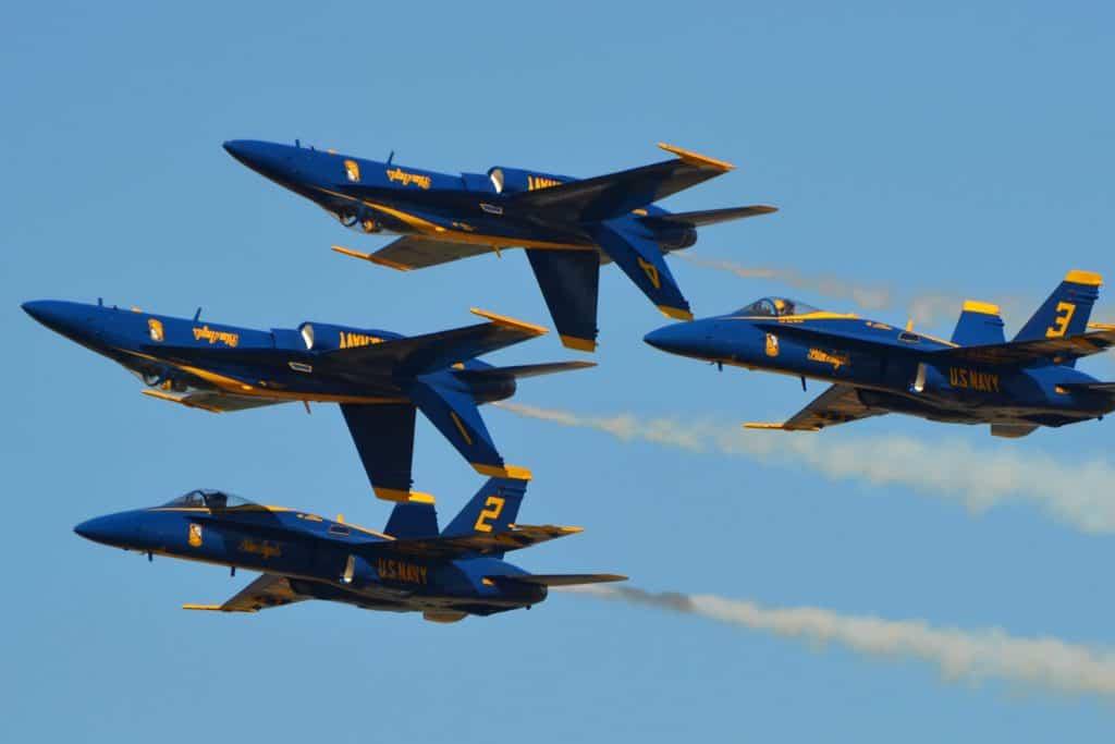 US Navy Blue Angels performing aerial excercise