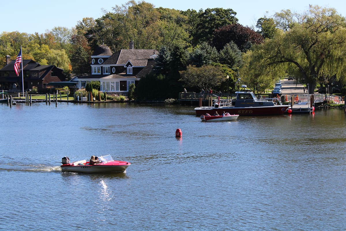 Houses and a boat dock in the beautiful little town of Saugatuck in Michigan, USA