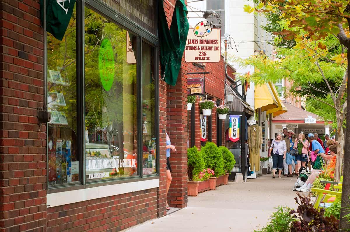 Shops and galleries of Saugatuck in Lake Michigan resort town
